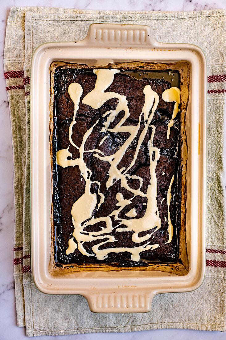 Baked Self Saucing Chocolate Pudding with Tahini