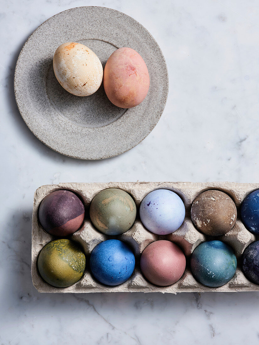 Tray of eggs dyed in different colors for Easter