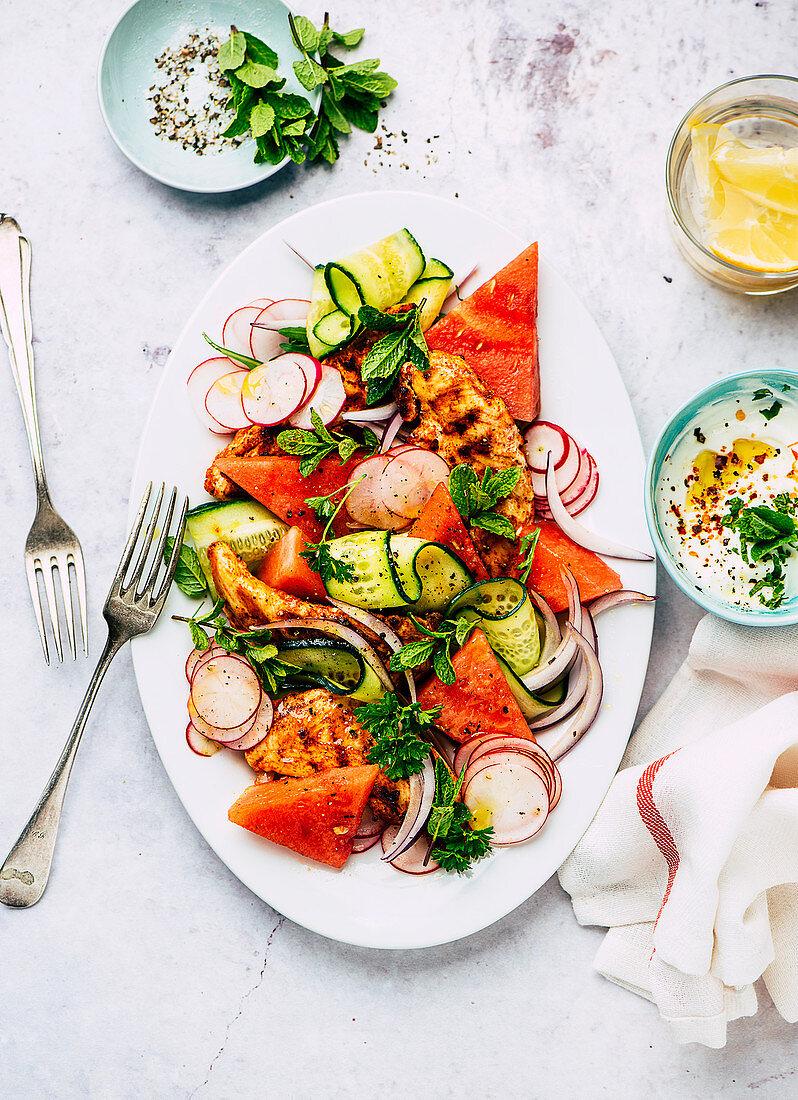 Chicken and melon salad with mint yogurt
