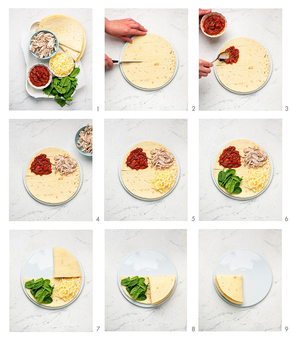 How to make a quesadilla with chicken and cheese