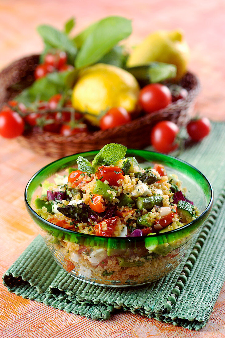 Bulgur with vegetables and mint