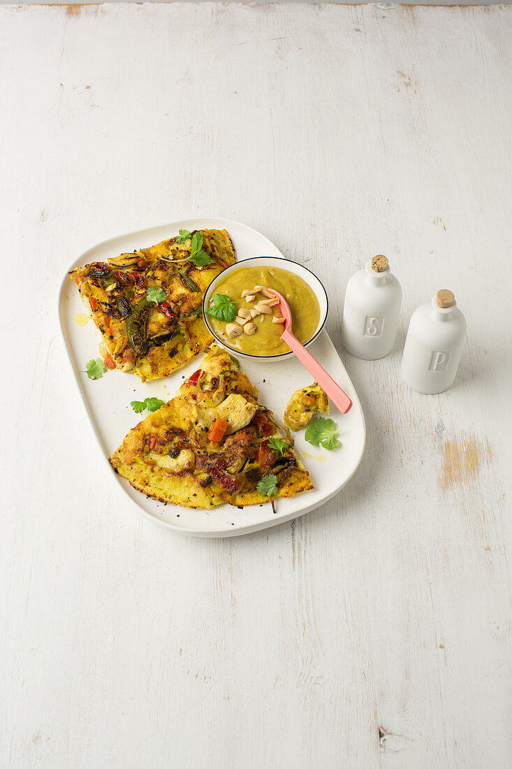 Asian pancakes with chicken and peanut cream