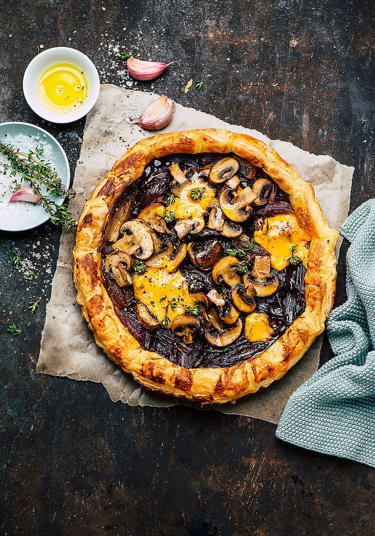Galette with caramelized onions, mushrooms, and cheese