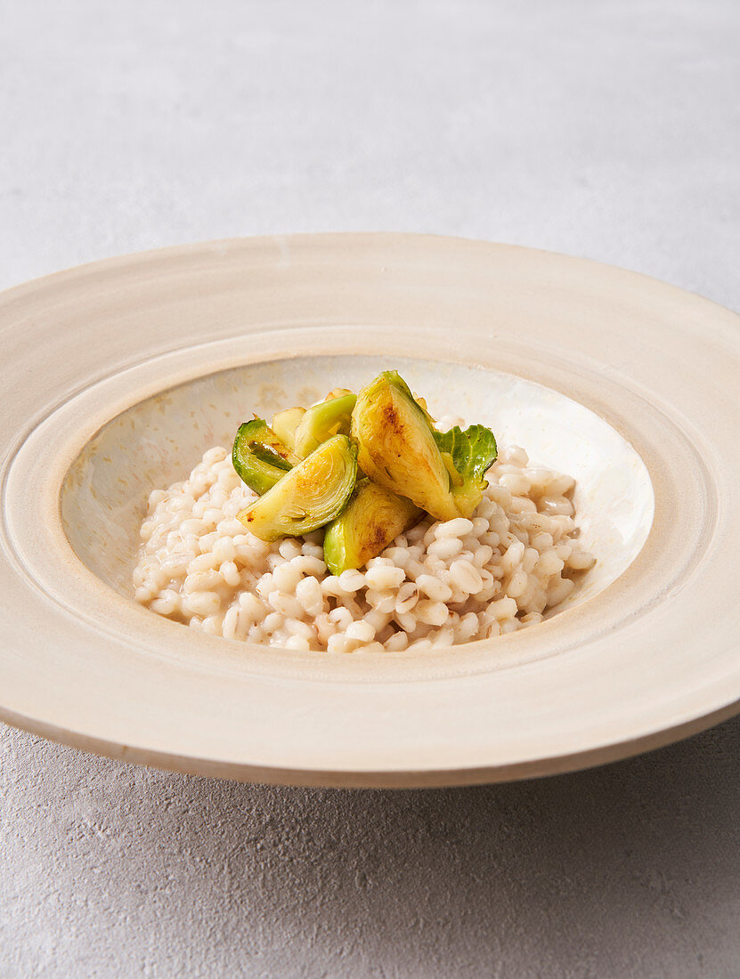 Riesling barley risotto with caramelized Brussels sprouts (vegan)
