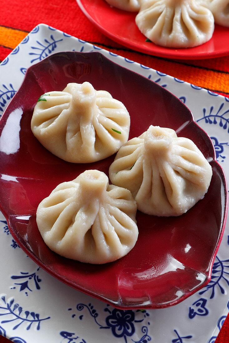 Georgian dumplings chinkali with meat