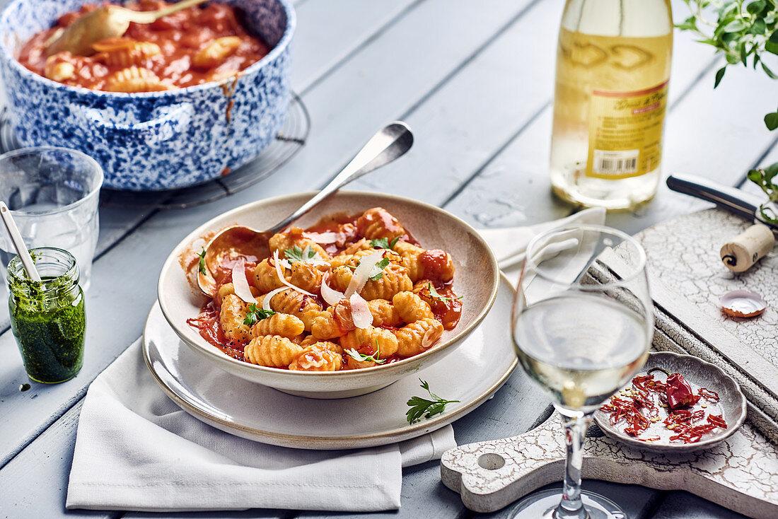 Gnocchi al arabiata with parmesan and rocket pesto