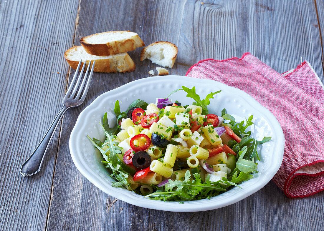 Pasta salad with Balkan cheese