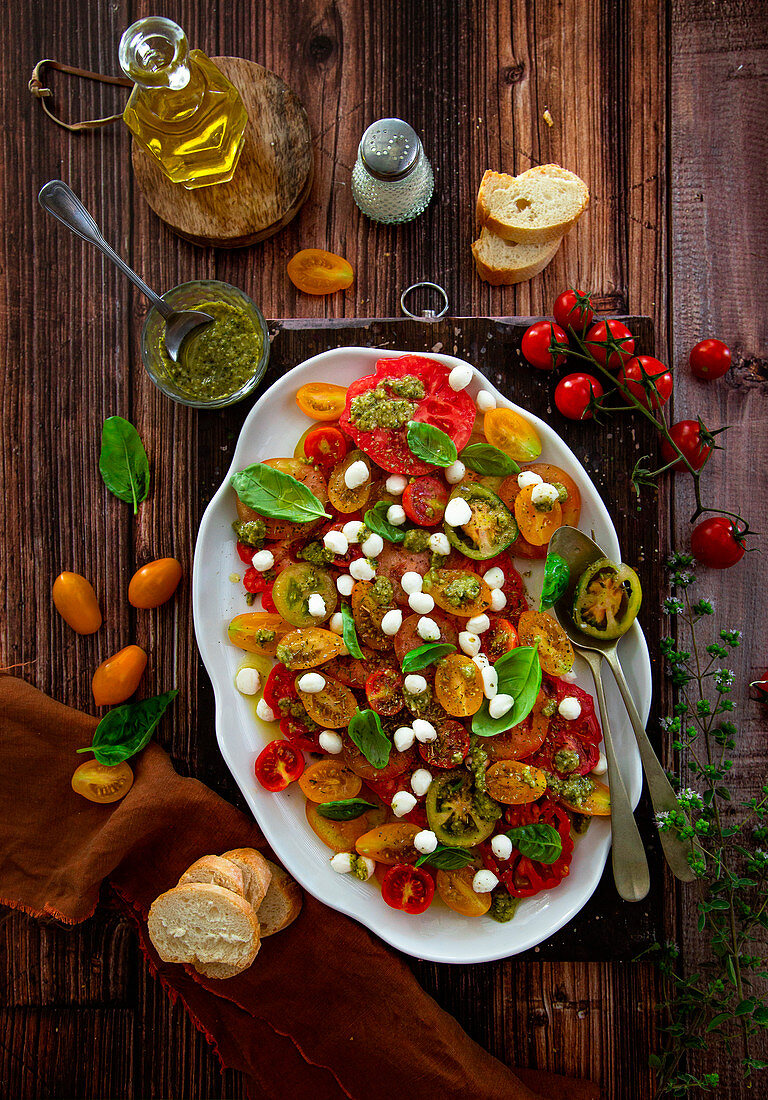 Caprese with cherry tomatoes of different colors and sizes