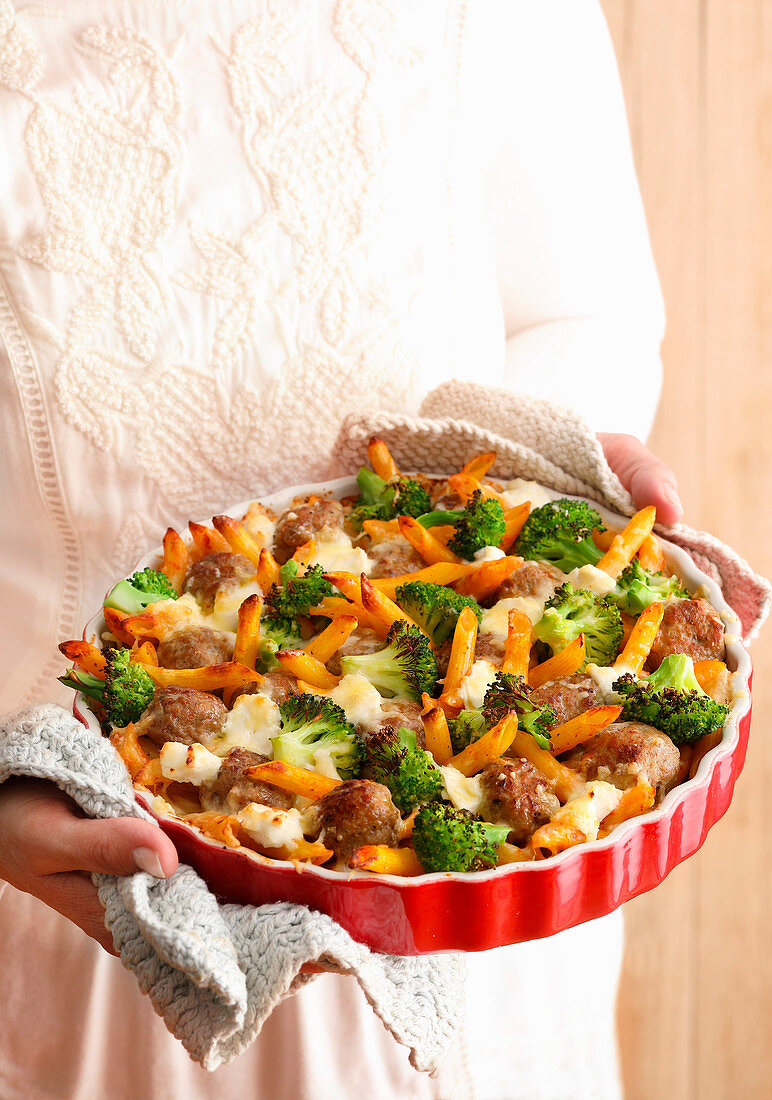 Baked Pasta with meatballs, broccoli, and ricotta
