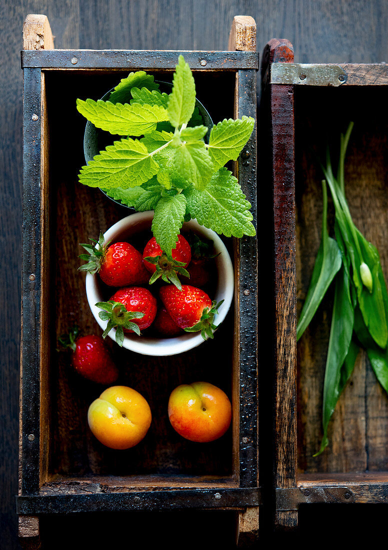 Strawberries, mint, plums and wild garlic in a wooden box