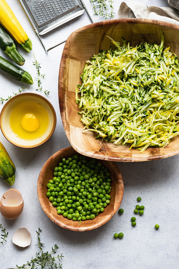 Courgette and pea fritter ingredients