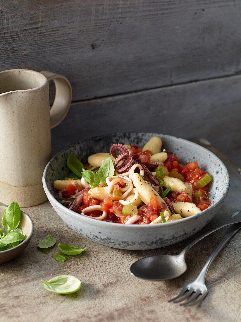 Chestnut gnocchi with calamaretti-and-olive sugo
