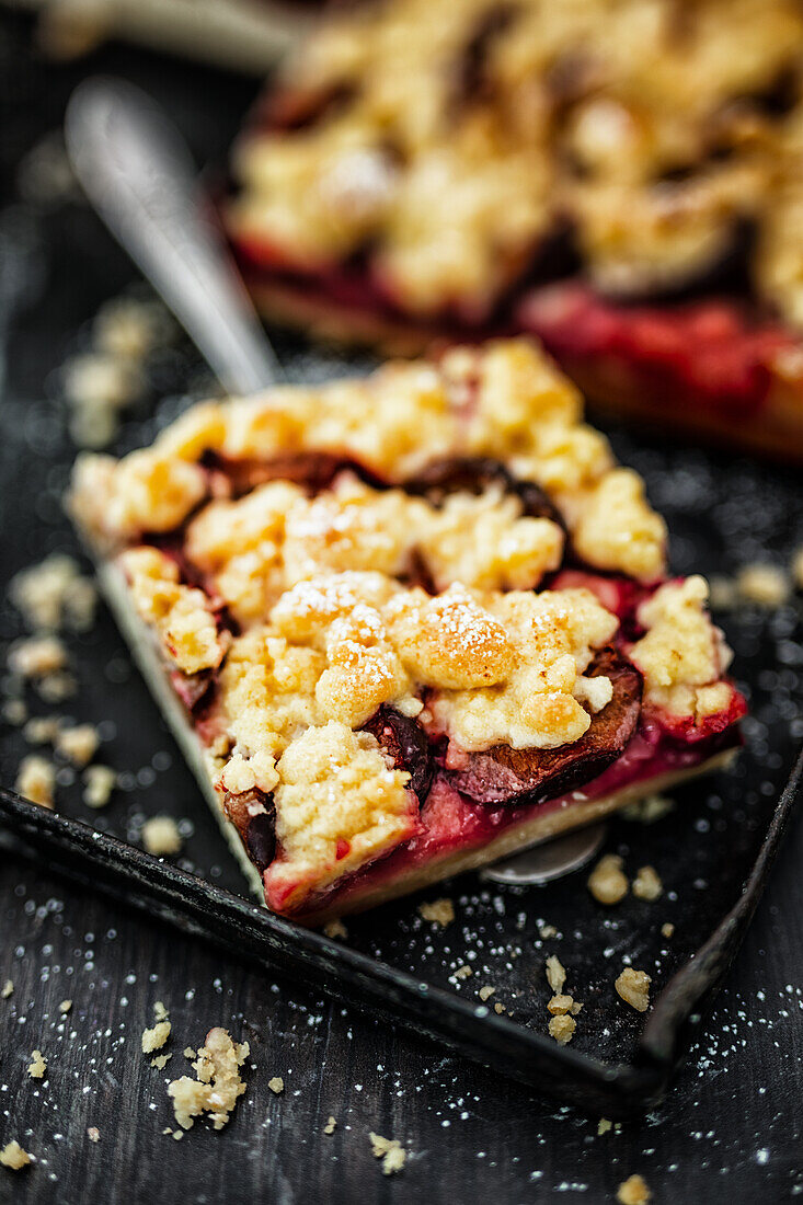 Juicy plum doughnut with butter crumble