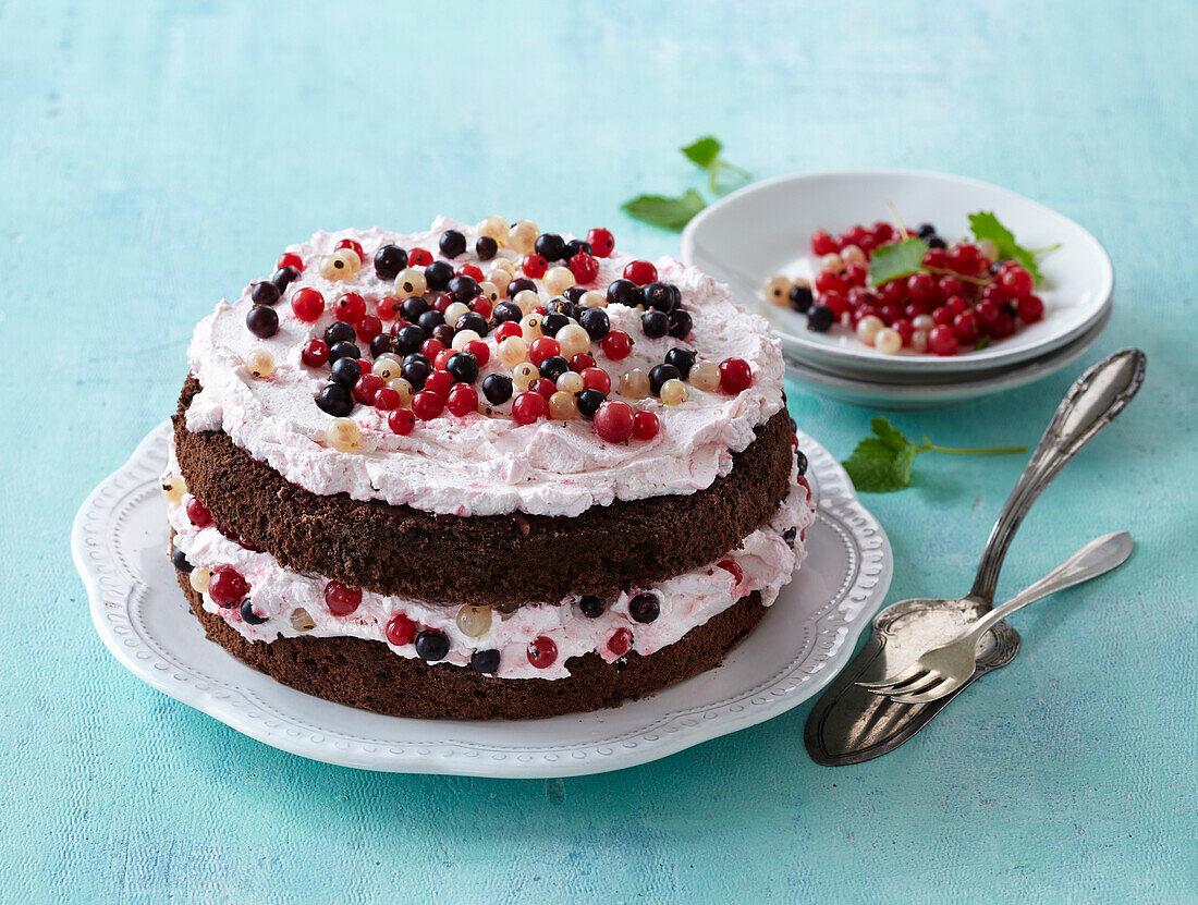 Chocolate cake with currant cream
