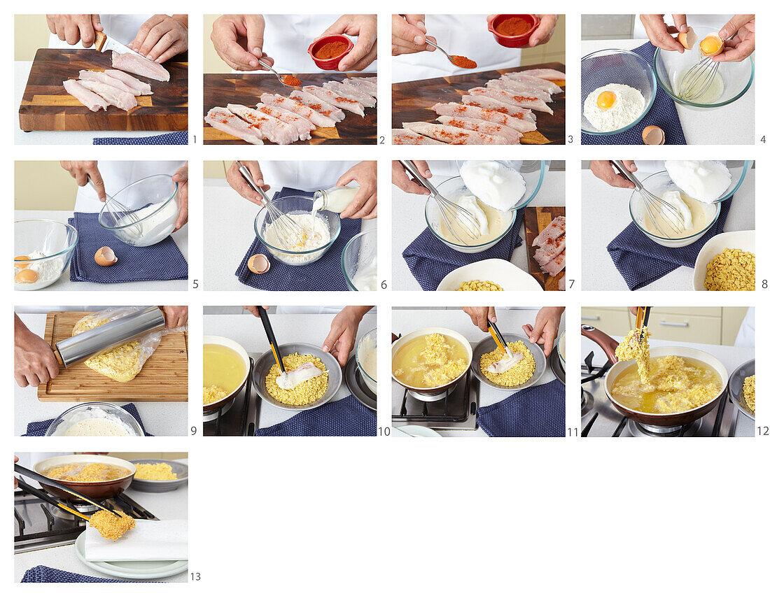 Preparing chicken nuggets in cornflakes