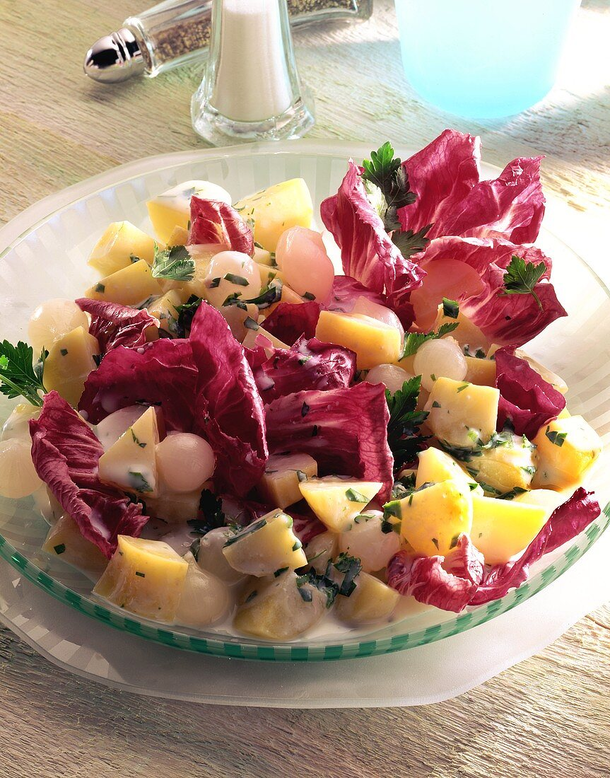 Potato & radicchio salad with silverskin onions & parsley