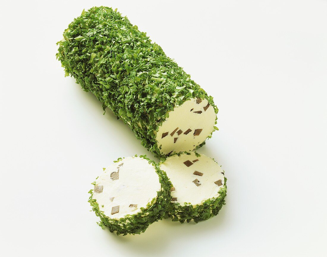 Mushroom butter, roll of butter with parsley coating