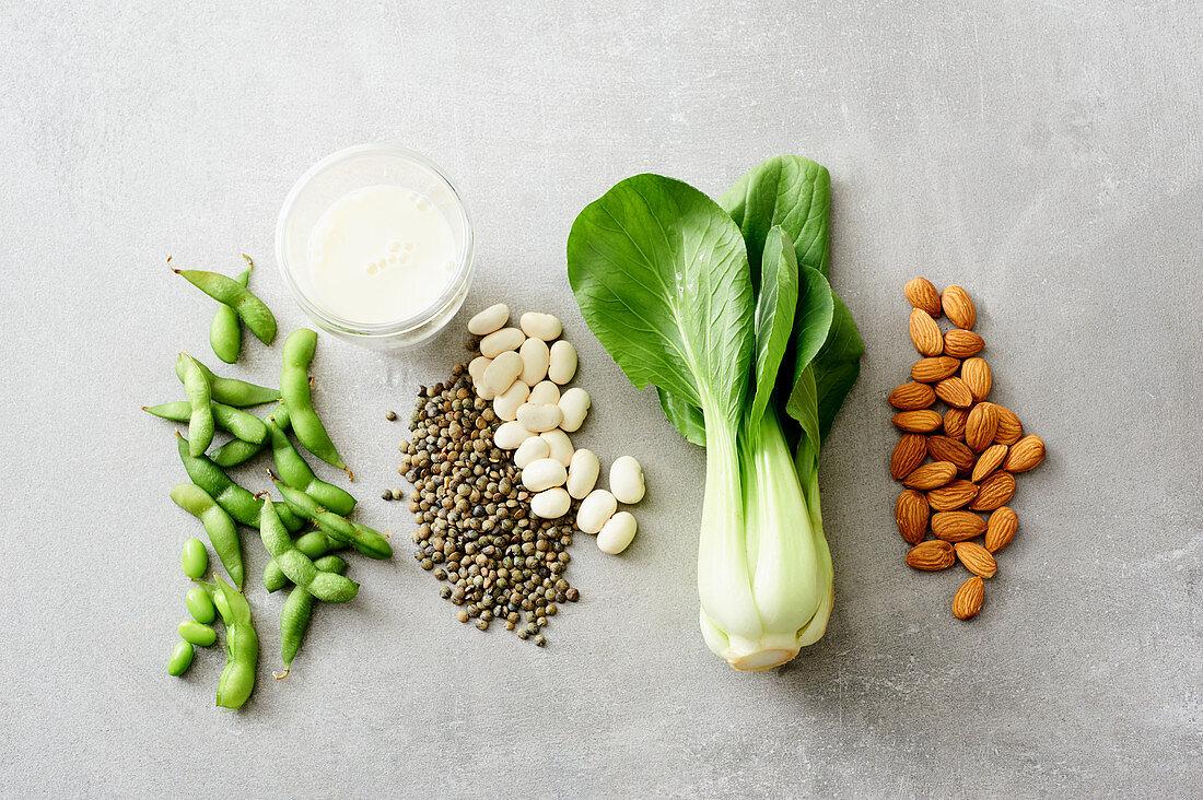 Potassium-rich foods – bok choy, almonds, edamame and legumes