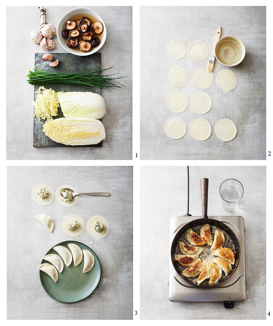 Vegan gyoza being made