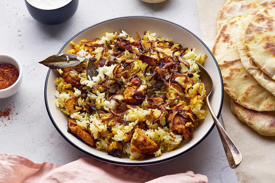 Indian hyderabadi biryani with chicken and basmati rice