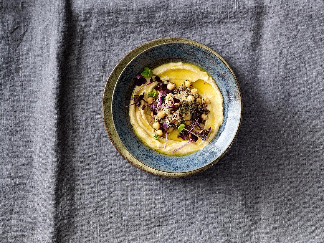 Vegan quinoa and chickpea salad with hummus