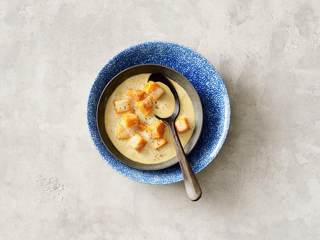 Indian vegan sweet potato soup with coconut milk
