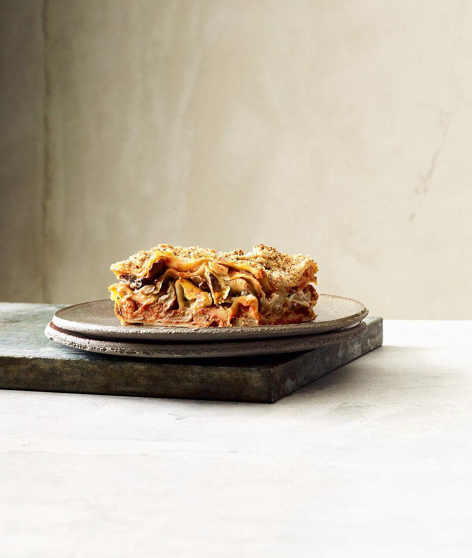 Vegan lasagne with braised mushrooms