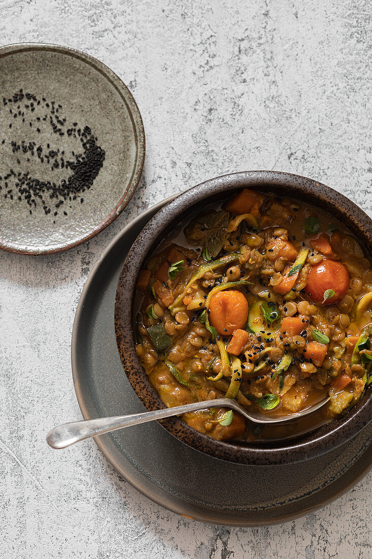 Vegan lentil bolognese with zoodles