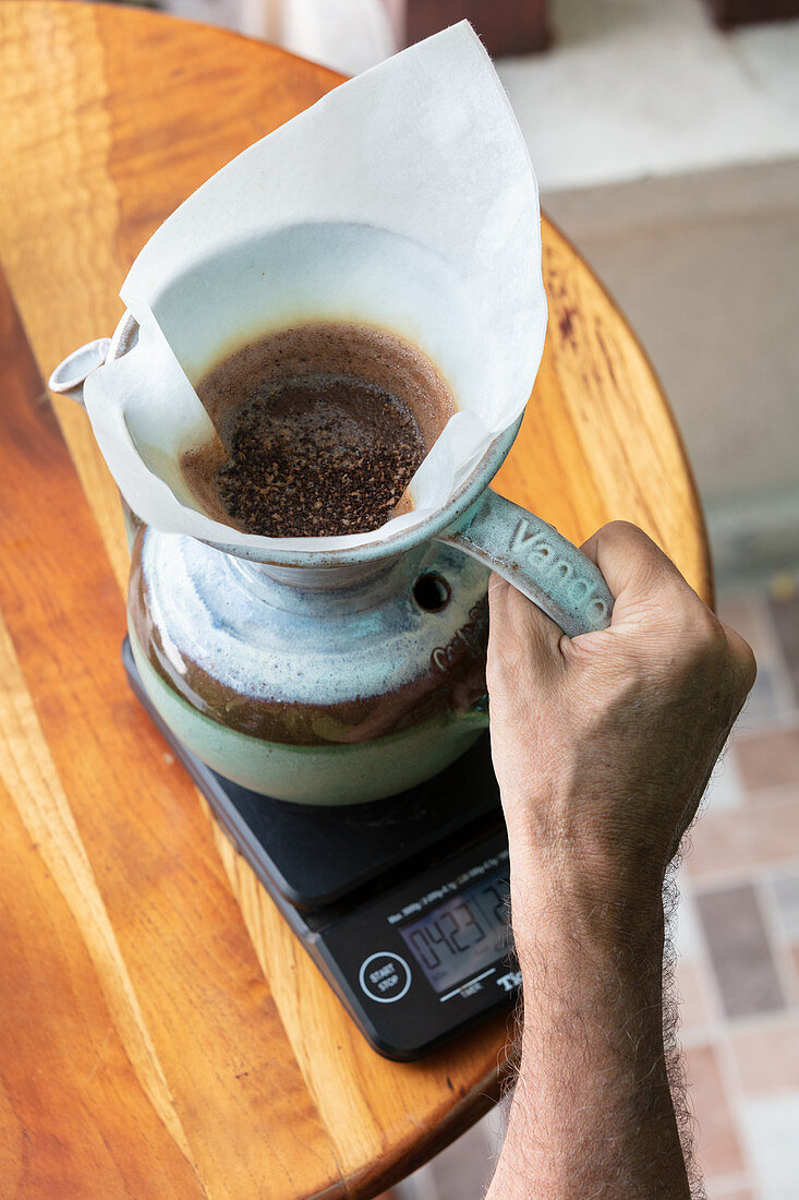 Coffee being made, traditional brewing method used in Costa Rica, Central America