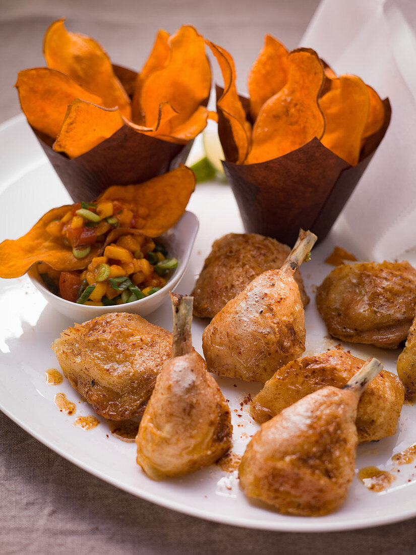 Crispy chicken legs with sweet potato crisps