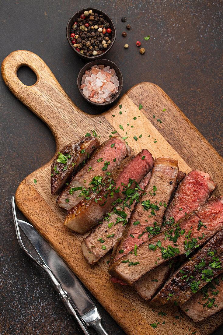 Grilled prime marbled meat Ribeye steak