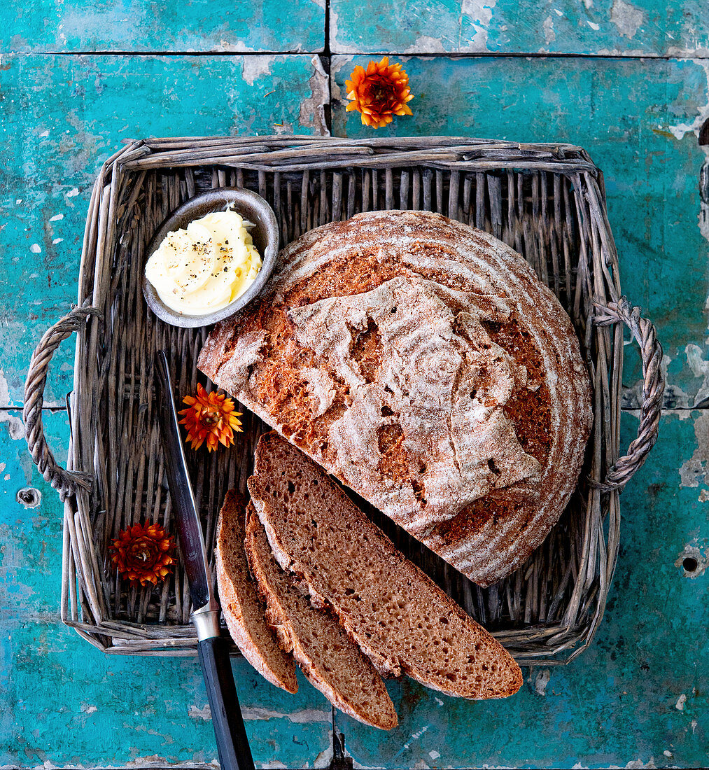 Spelt wholemeal bread with a dish of butter