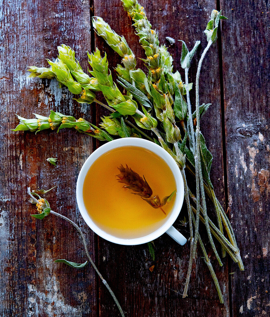 A cup of Greek mountain tea with a bunch of herbs next to it