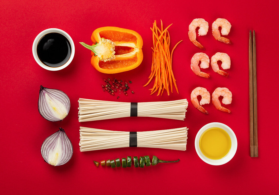 Ingredients for cooking stir fry noodles