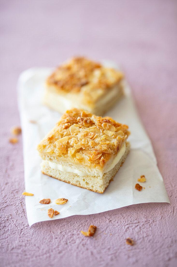 Vegan Bienenstich (caramelised almond cake) with vanilla pudding