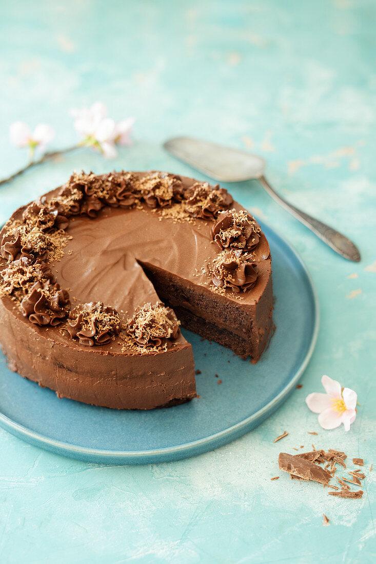 Vegan chocolate cake with apricot jelly and silken tofu
