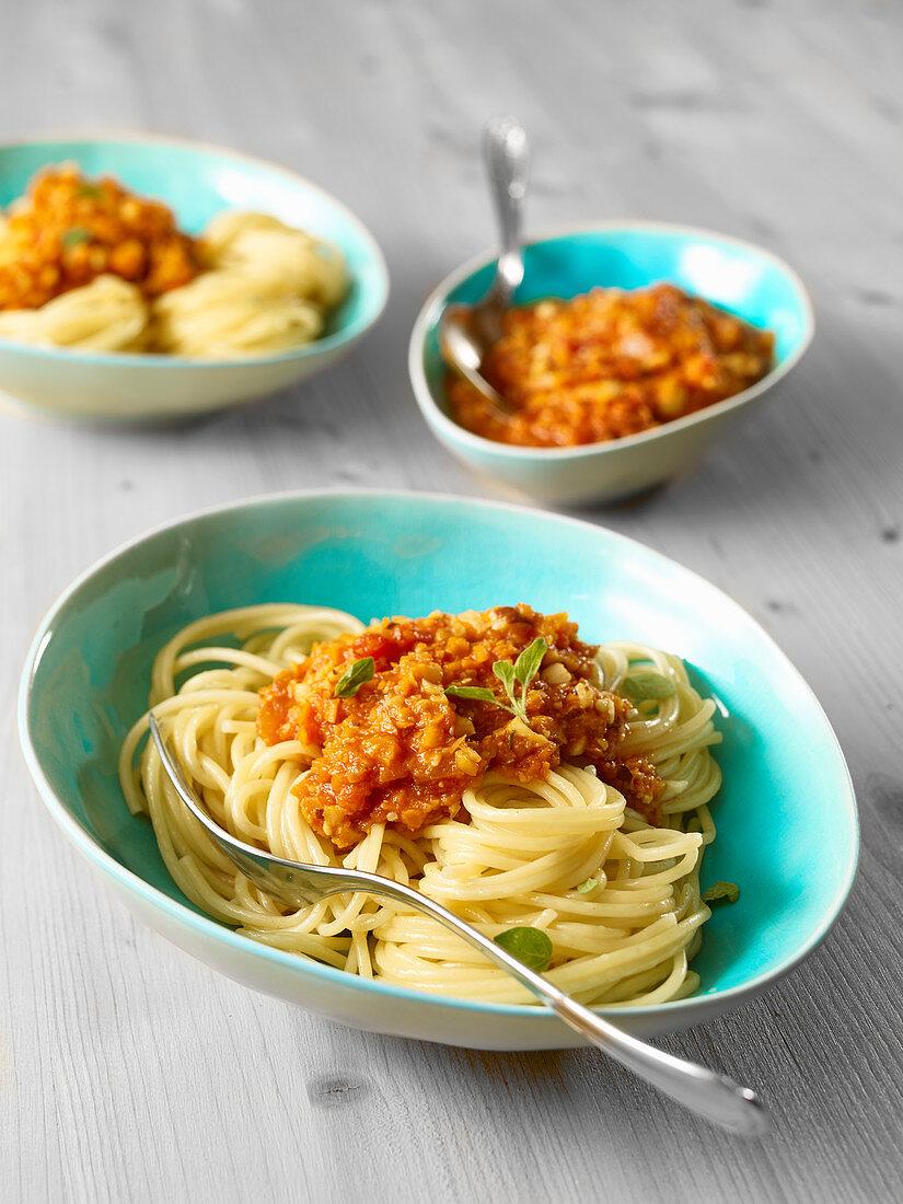 Spaghetti with carrot bolognaise