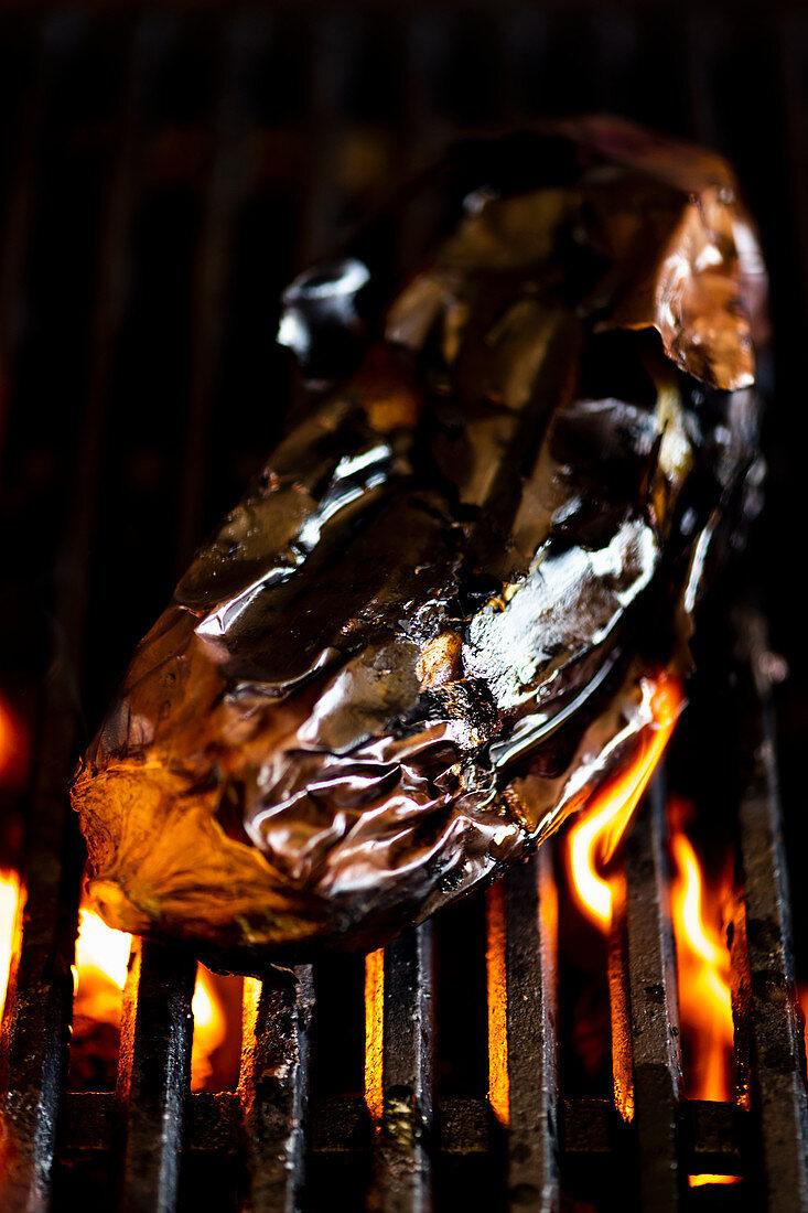 Barbecued aubergine