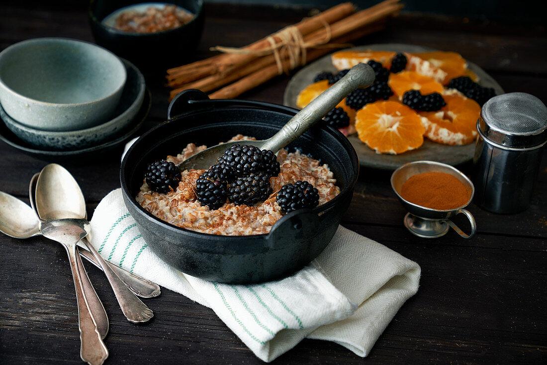 Wholegrain porridge with orange