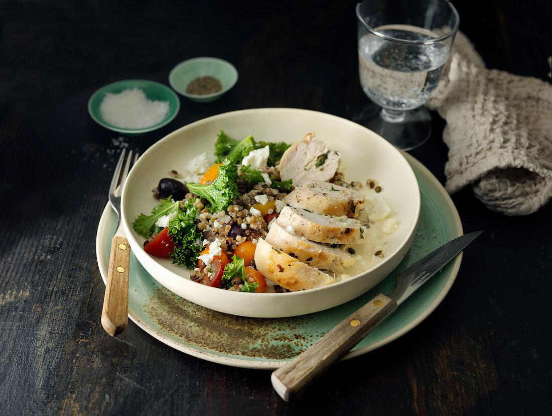 Chicken breast with grain salad