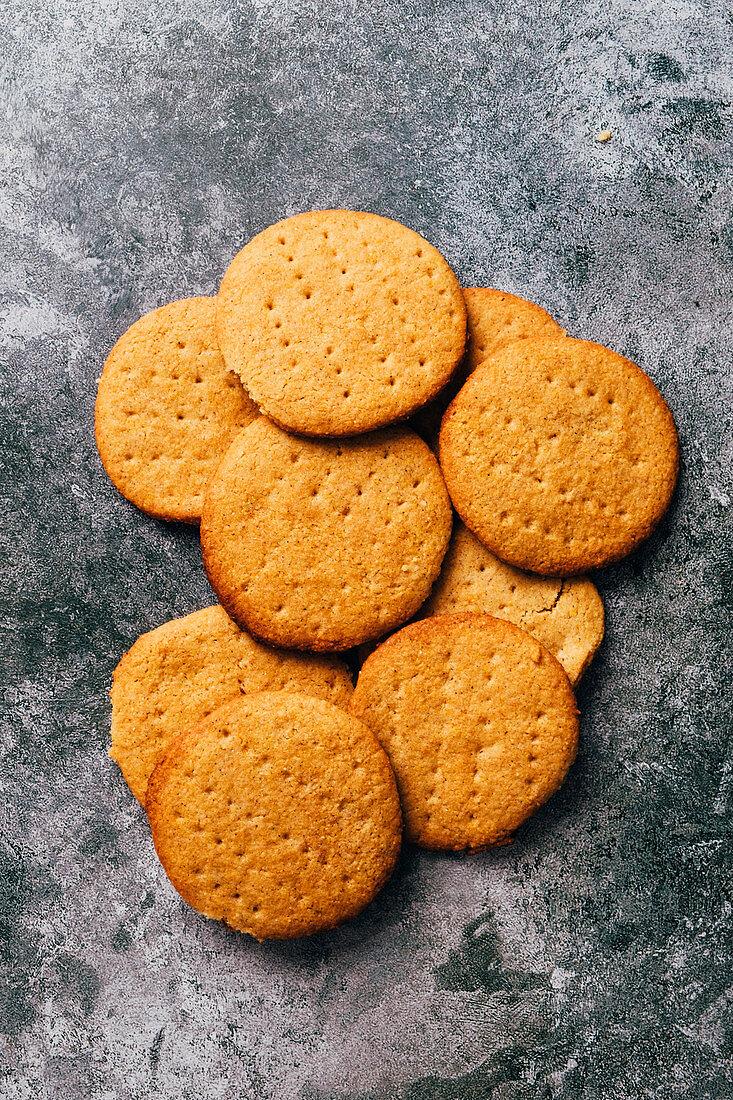 Gluten-free digestive biscuits (rice flour, ground almonds and polenta)