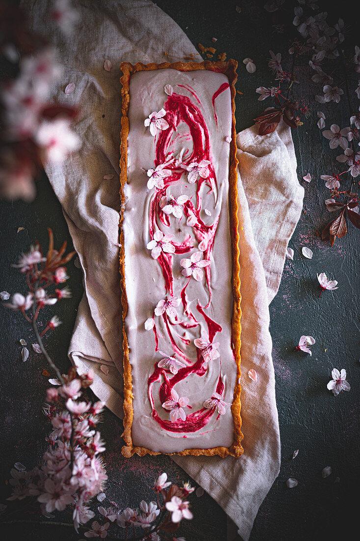 Rectangular tart with hibiscus cream