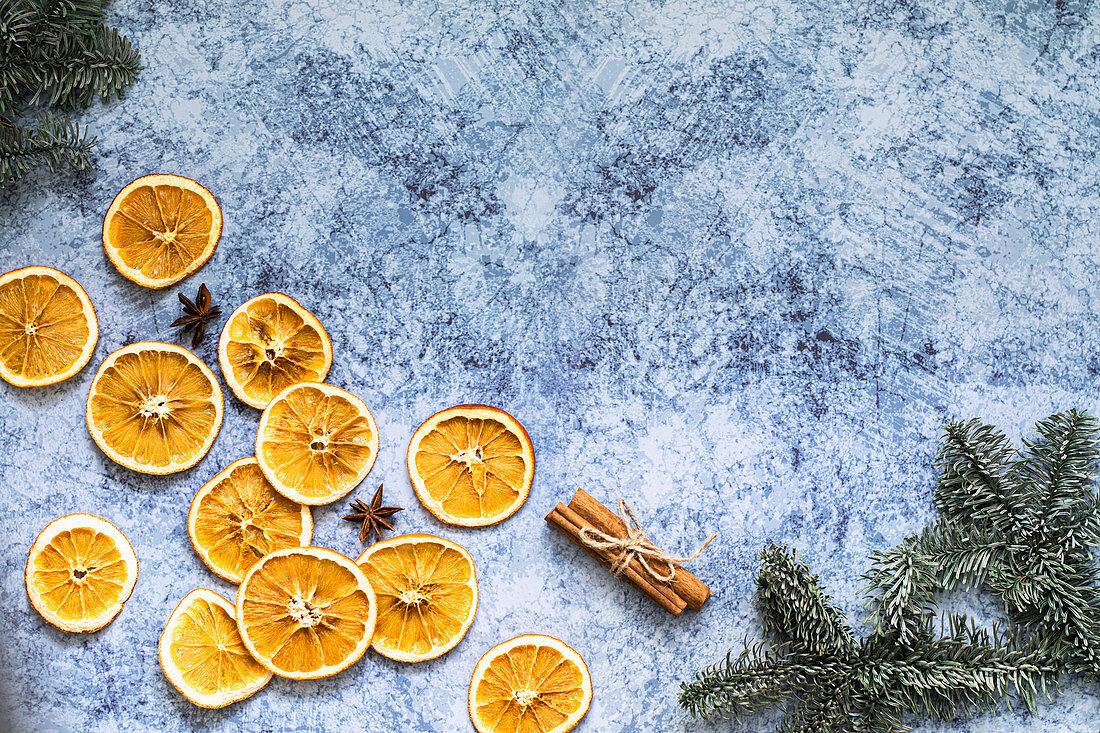 Christmas dried oranges and cinnamon sticks