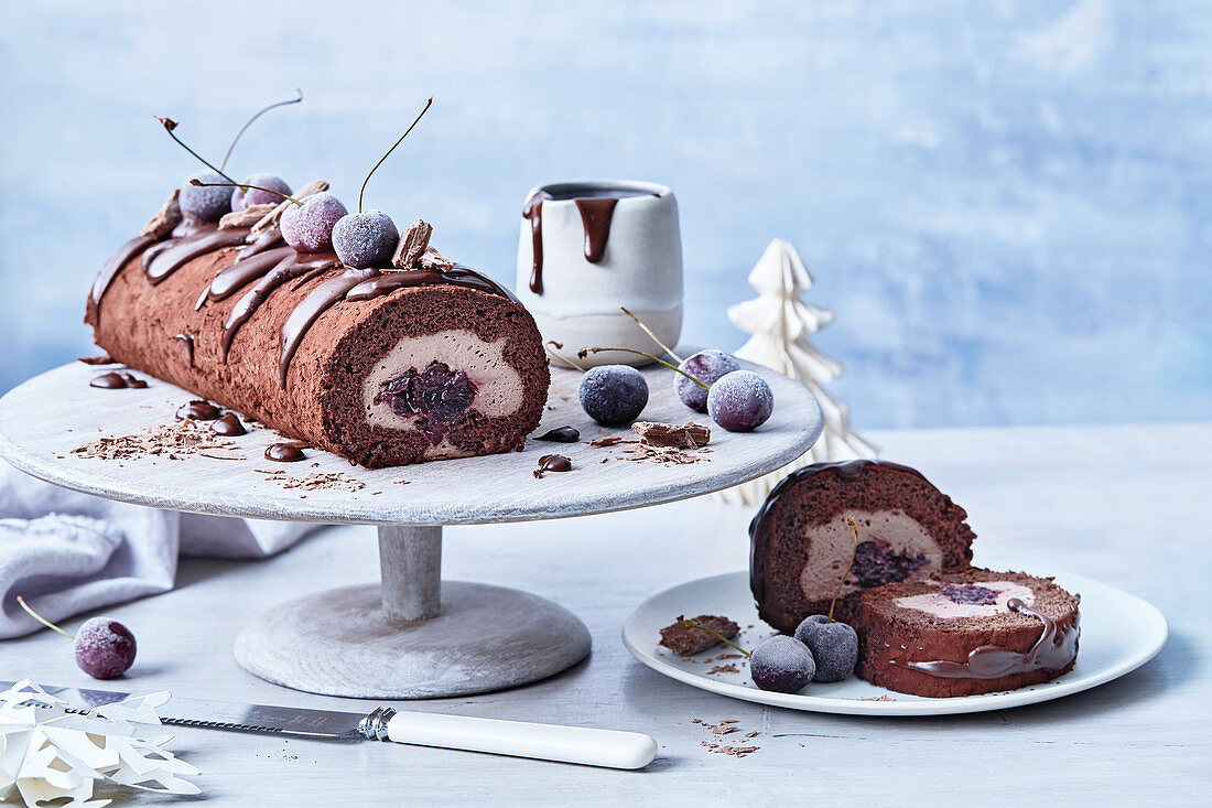 Black forest choc-mousse roll