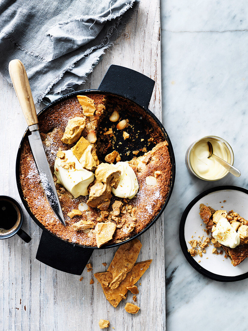Frying Pan Coconut Blondie with Sea Salt Honeycomb