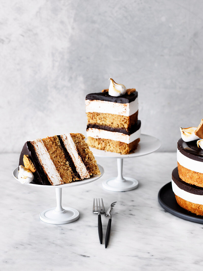 Malted Mallow s'mores cake