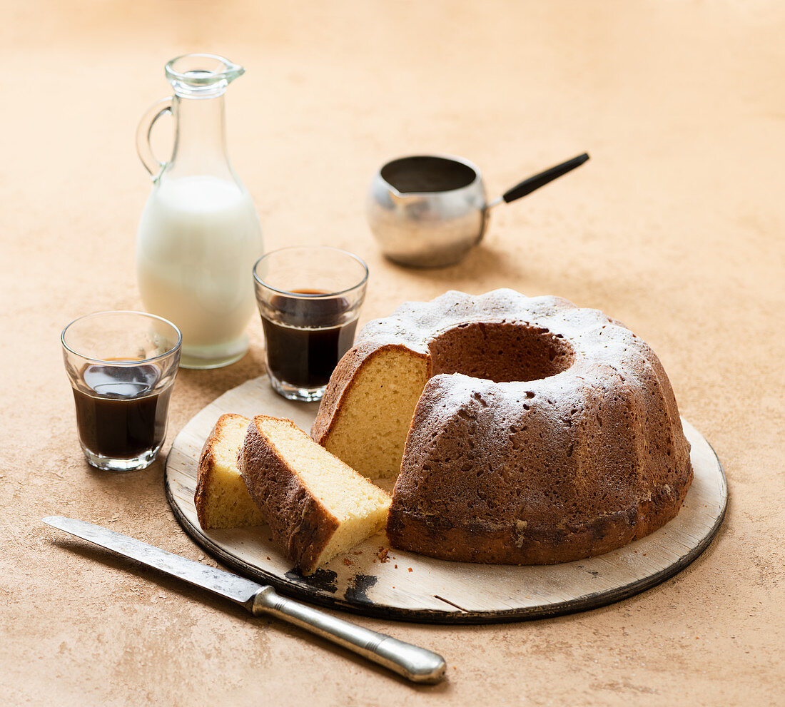 Sliced Bundt with coffee and milk