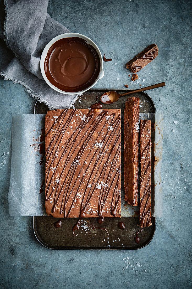 Chocolate fudge with sea salt