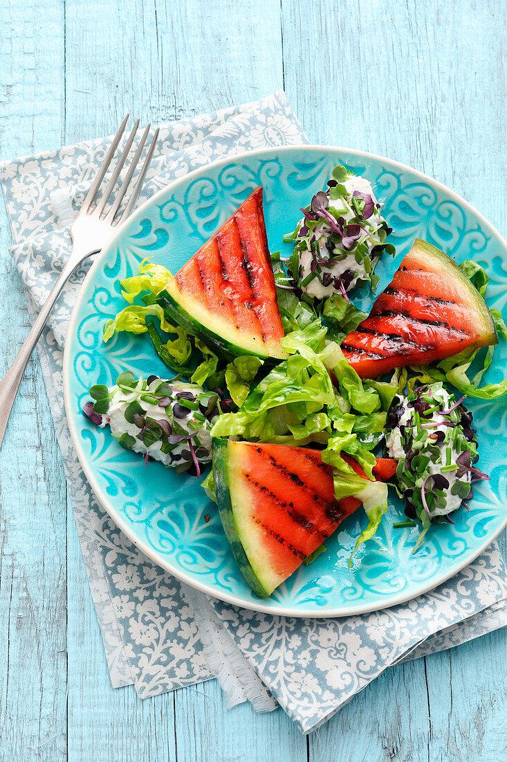 Gegrillte Wassermelone mit Ricottanocken