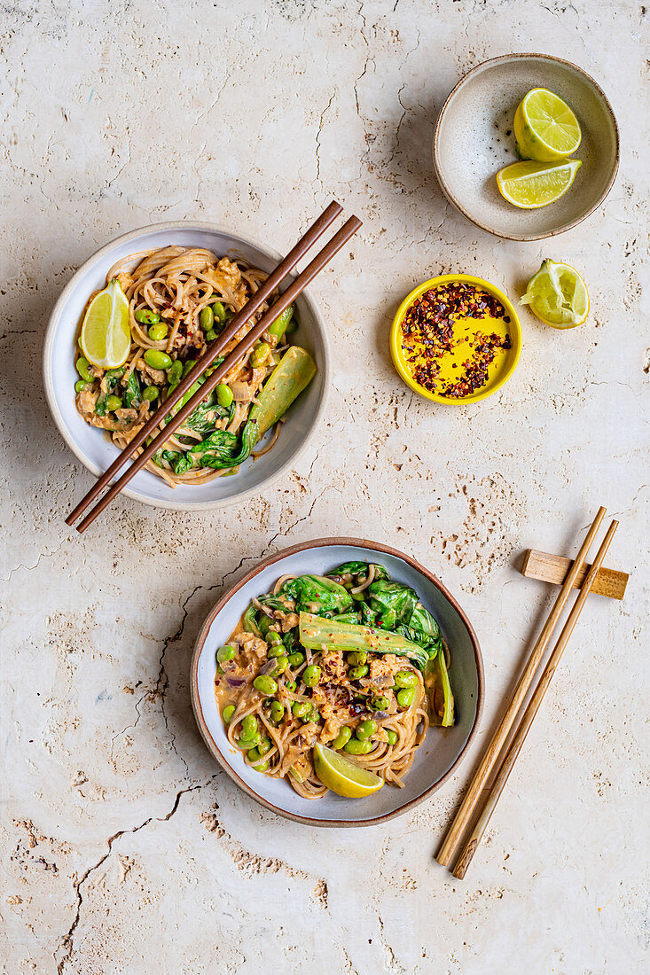 Tinned Salmon Pasta with Pak Choi and Edemame Beans